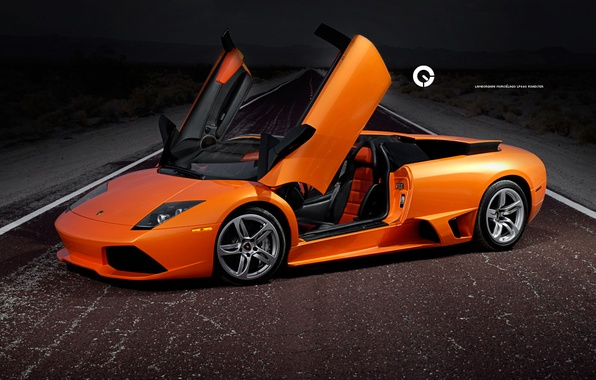Picture road, machine, night, lamborghini, road, cars, Lamborghini, murcielago, auto wallpapers, lp640, car Wallpaper, roadster, orange