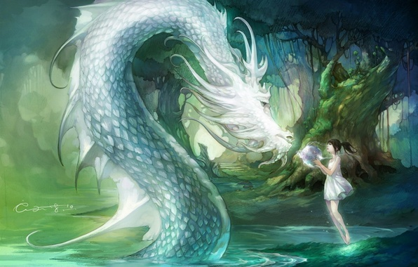 Picture water, girl, trees, nature, dragon, ball, anime, art