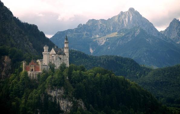 Picture mountains, castle, Germany, Bayern, Neuschwanstein, Neuschwanstein