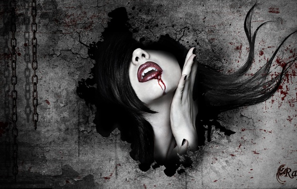 Picture girl, face, wall, blood, vampire