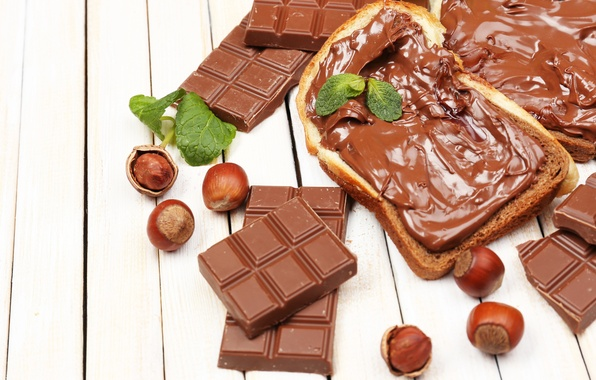 Picture chocolate, bread, nuts, cream, chocolate, nuts, chocolate paste, toast