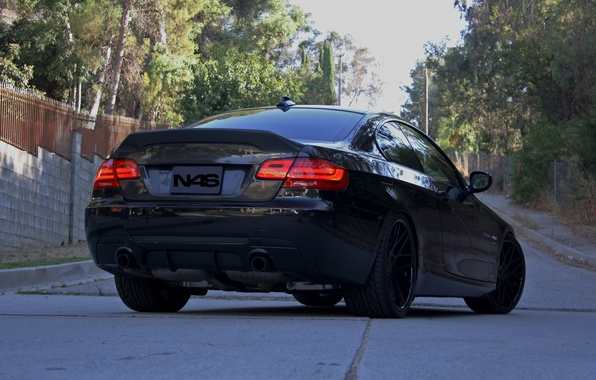 Picture the sky, trees, black, bmw, BMW, black, 335i, back, headlights