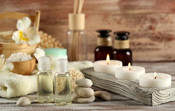 Picture stones, oil, candles, Spa, salt