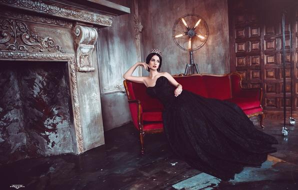 Wallpaper Gothic, Model, Black Dress, Queen, Alla Berger -6235
