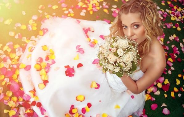 Picture summer, love, happiness, romance, mood, bouquet, petals, blur, love, beautiful, the bride, wedding, flowers, bokeh, …