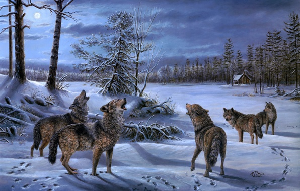 Picture winter, forest, night, the moon, wolf, pack, wolves, hut, painting, hut, Mary Pettis, Moonlight Chorus
