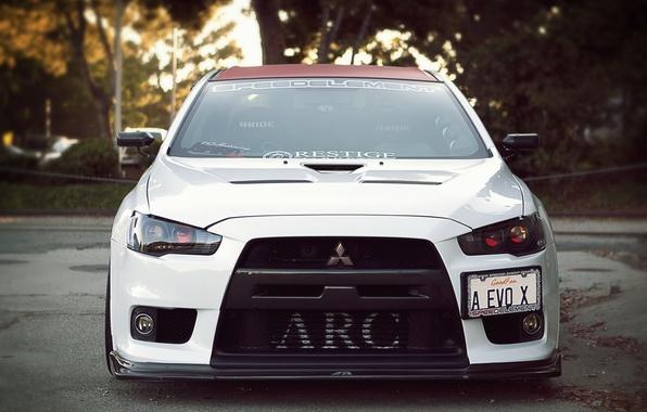 Picture white, before, Mitsubishi, Lancer, evo x, xenon