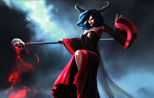 Picture sake, magic, horns, woman, witch