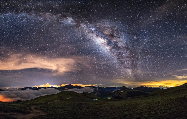 Picture clouds, mountains, lights, lights, The Milky Way, mountains, clouds, Milky Way