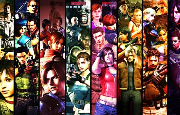 Picture biohazard, art, characters, Resident evil, Jill Valentine, Leon Scott Kennedy, Chris Redfield, Ada Wong, Leon …