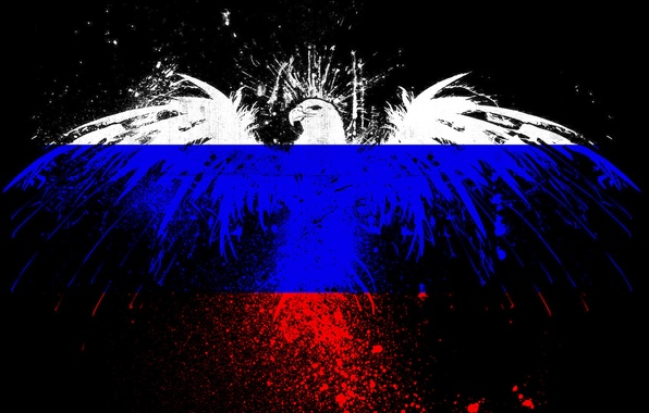 Picture squirt, eagle, paint, the flag of the Russian Federation