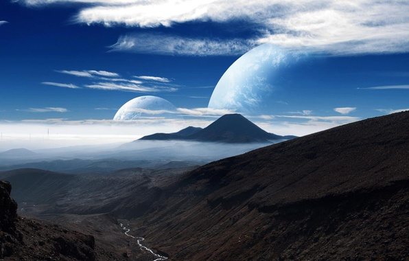 Picture the sky, clouds, mountains, the moon, Planet