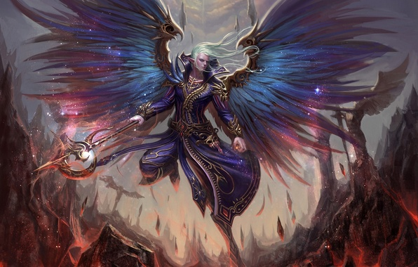 Picture rocks, elf, wings, fantasy, art, lava, MAG, staff, guy