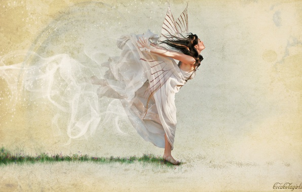 Picture girl, wings, dress