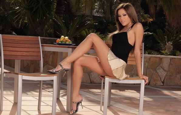 Picture girl, table, skirt, garden, brunette, chair, top, legs, anita pearl