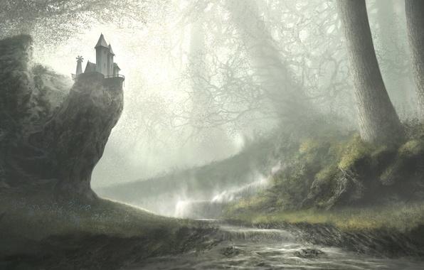 Picture forest, river, art, painted landscape, the ledge. house