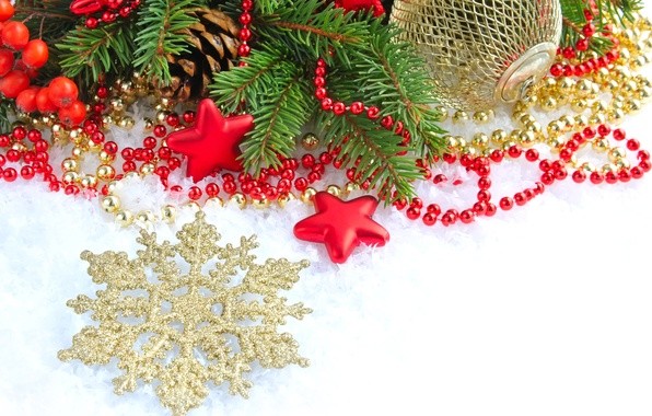 Picture stars, holiday, toys, tree, ball, spruce, branch, ball, New Year, Christmas, beads, bumps, snowflake, gold, …