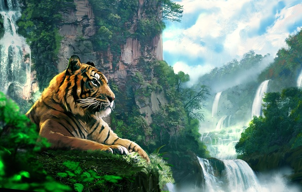 Picture forest, landscape, tiger, mountain, waterfall, art