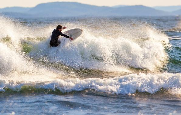 Picture waves, sea, mountains, surfing, splash, sunlight, spray, extreme sport, sufer