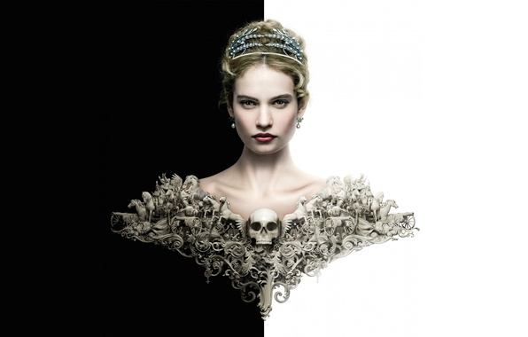 Picture creative, background, black and white, the series, poster, Lily James, Lily James, Natasha Rostova, War …