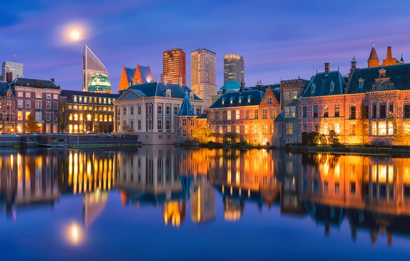 Picture water, reflection, night, the city, home, the evening, backlight, Holland