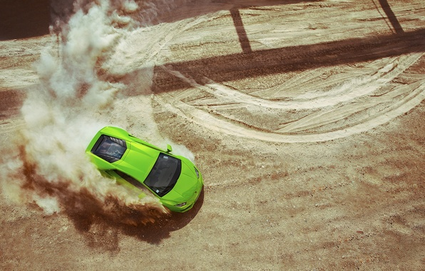 Picture Lamborghini, Green, Sand, View, Huracan, Top, LP640-4, Skid, Drifting
