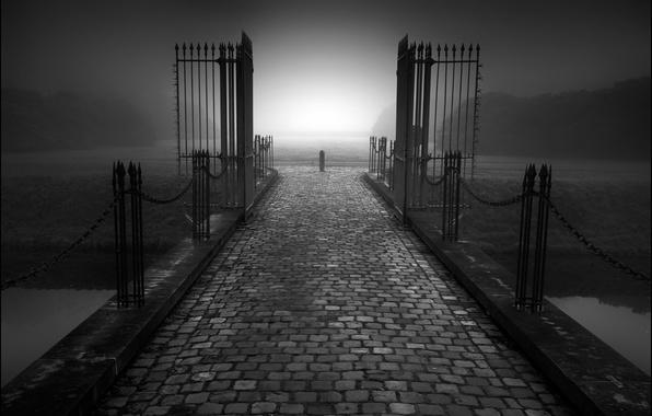 Picture road, fog, fence, gate, twilight, Melancholy