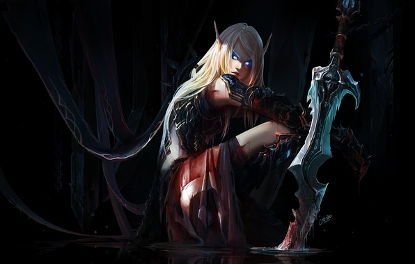 Picture eyes, water, girl, blood, elf, sword, art, elf, ears, world of warcraft, gloom, wounds, chenbo