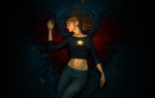 Picture leaves, girl, blood, wings, jeans, pavers, art, cover, bridge, smiley, Luke, lying, arden rey
