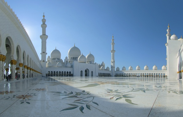 Picture architecture, UAE, Abu Dhabi, the minaret, the Sheikh Zayed Grand mosque