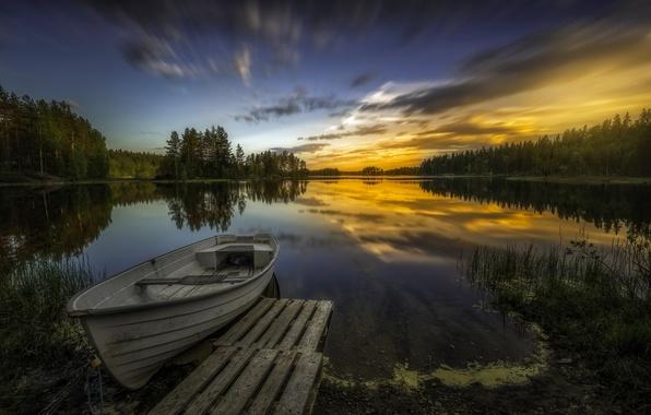 Picture trees, sunset, lake, reflection, boat, Norway, Norway, RINGERIKE, Ringerike, Aklangen