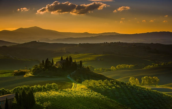 Picture mountains, house, hills, garden, Italy, vineyard, Tuscany