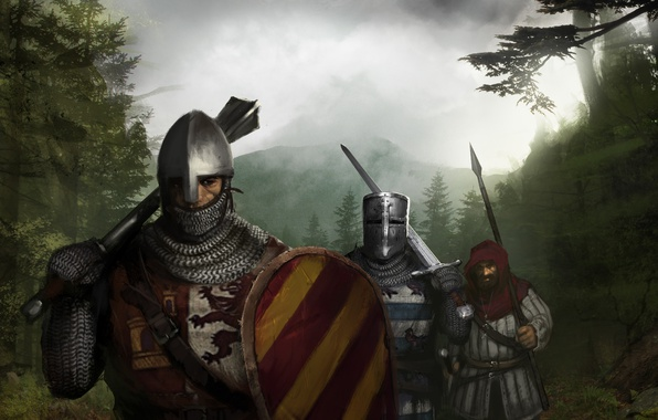 Picture Sword, Knights, Mail, Spear, Shield, The middle ages, Topfhelm, Norman helmet, Multiblade Mace, squire