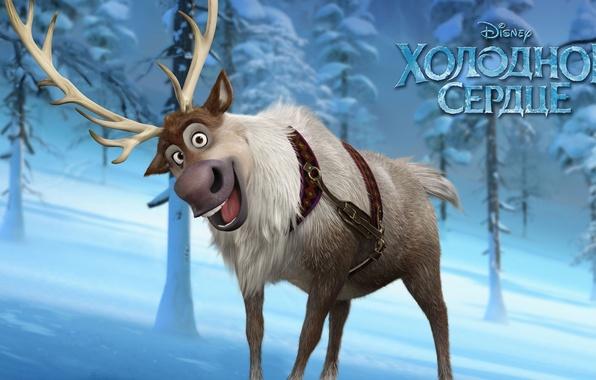Picture cold, winter, snow, smile, cartoon, ice, deer, Frozen, tree, disney, Sven, cold heart