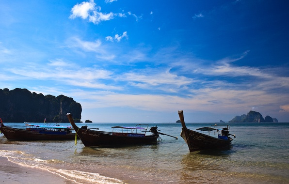 Picture sea, the sun, mountains, Longboat, Thailand