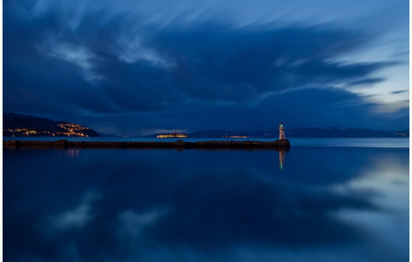 Picture the sky, clouds, night, reflection, river, shore, lighthouse, island, lighting, Norway, blue