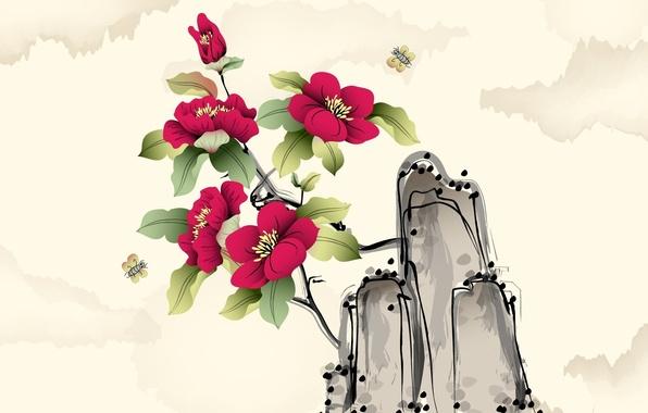 Picture flowers, art, watercolor, Midge