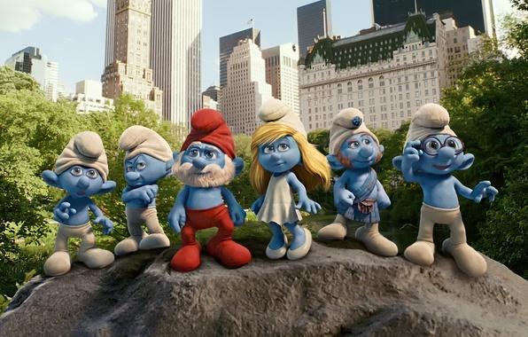 Picture the city, men, New York, blue, cartoons, Smurfs, gnomes, The Smurfs, Smurfs