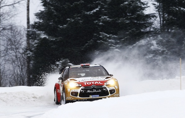 Picture Winter, Snow, Sport, Machine, Turn, Citroen, Skid, Citroen, DS3, WRC, Rally, Rally, Cold