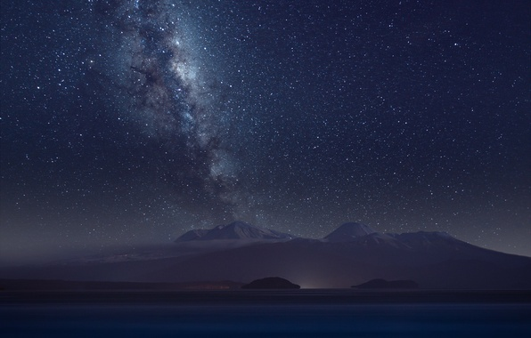 Picture space, stars, mountains, night, the milky way