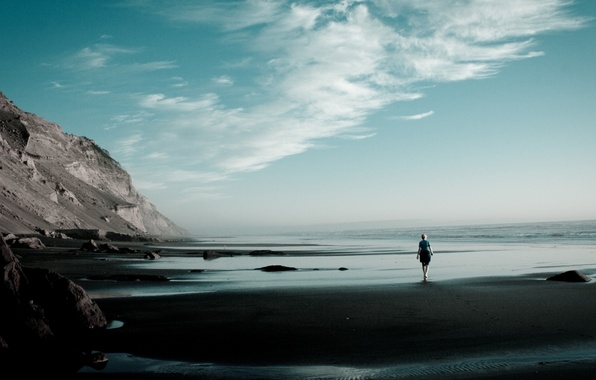 Picture GIRL, STONES, SEA, MOUNTAINS, HORIZON, The OCEAN, The SKY, SAND, CLOUDS, SURF, COAST, SHORE, SLOPE