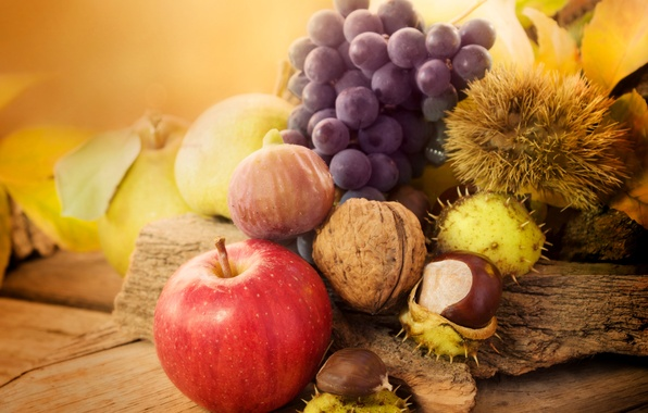 Picture autumn, leaves, Apple, harvest, grapes, fruit, nuts, chestnuts