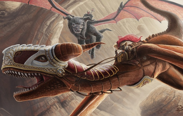 Picture flight, people, dragons, art, rider, armor, cloak, top, Jon Hrubesch