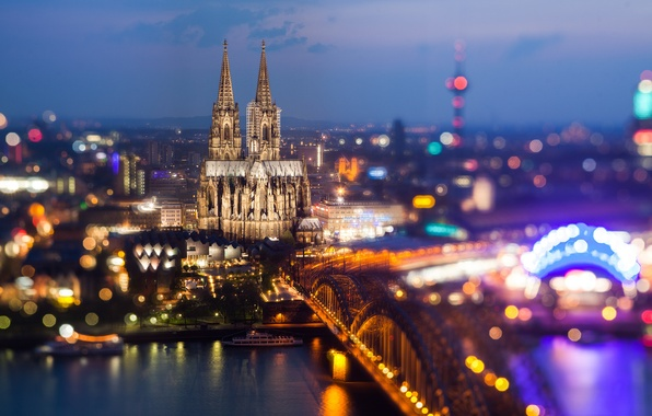 Picture bridge, the city, lights, river, the evening, Germany, Church, Germany, bokeh, Germany, Cologne Cathedral, Cologne ...