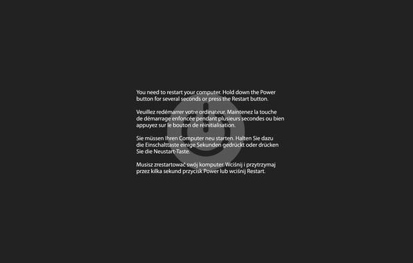Picture grey, the inscription, Kernel panic, restart, reboot, Mac OS X