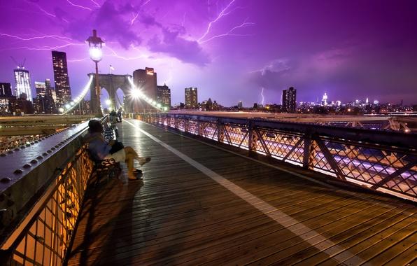 Picture the sky, storm, bridge, the city, people, new York