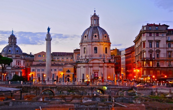 Picture the sky, sunset, Rome, Italy, Church, column