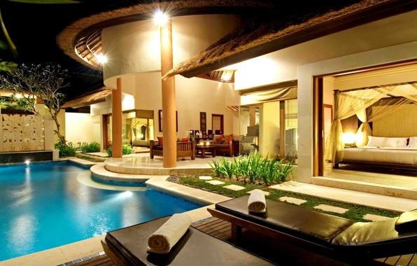 Picture water, night, Wallpaper, Villa, the evening, pool, table, sofas, sunbeds, wallpapers, sun loungers, cottage