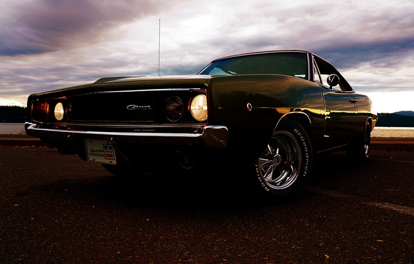 Picture black, lights, muscle car, black, Dodge, dodge, charger, r/t, the front, 1968, the charger