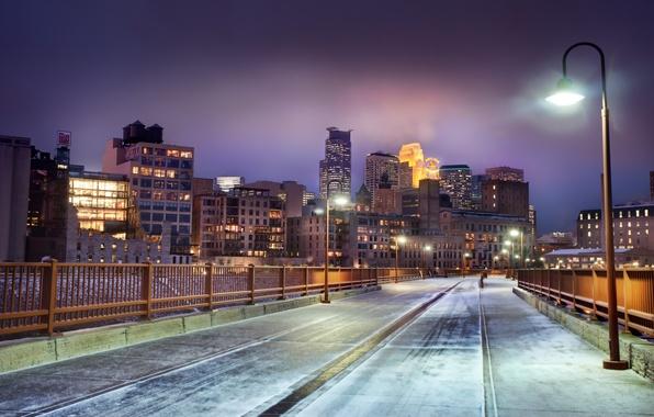 Picture winter, snow, night, United States, winter, snow, Mn, Skyline at Night, Minnesota, Minneapolis, Minneapolis